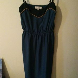 Loft Navy blue & gold dress